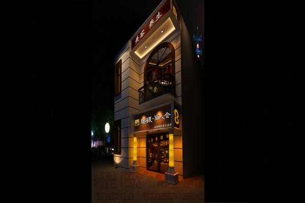 亲切感.   a:门头引用东南亚风格,门头大字用的是自发光材料