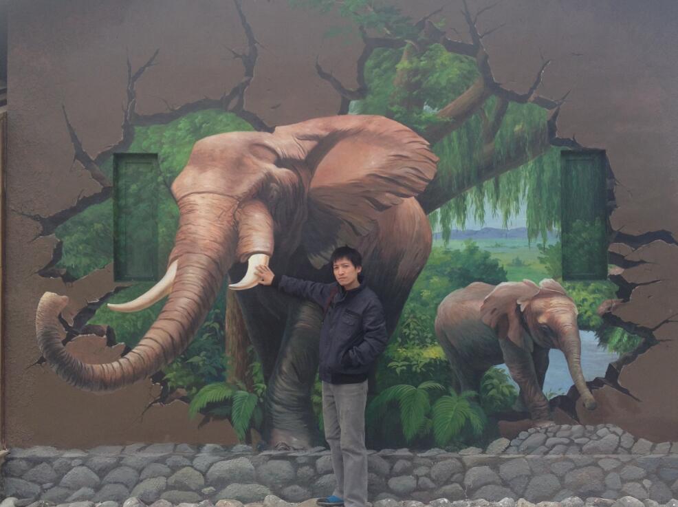 艺术手绘墙画动物