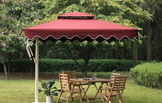 遮阳伞选购 采用高强度铝合金材料,立柱与顶棚连接处用内置镀锌钢结构