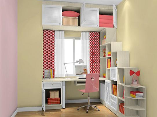 西安装修公司保艺装饰儿童房飘窗台书桌设计