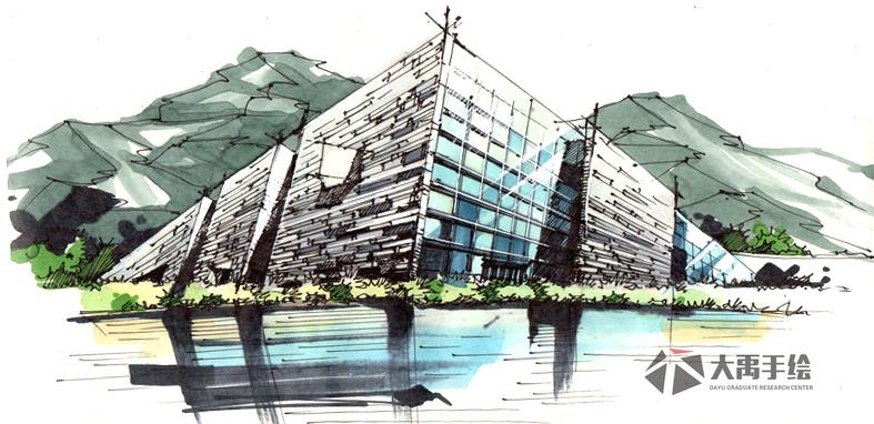 超赞的建筑手绘线稿图集,建筑手绘就来大禹手绘,手绘