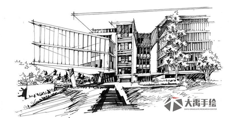 手绘考研培训首选大禹手绘 建筑手绘景观手绘规划手绘