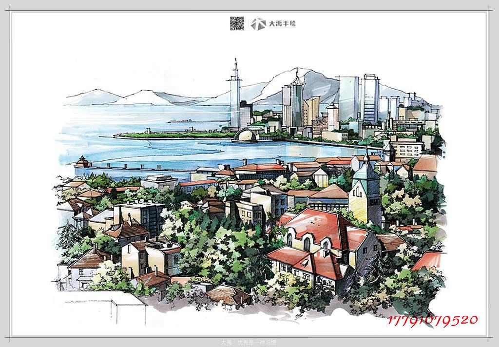 建筑手绘培训,景观考研培训,规划手绘考研,大禹手绘