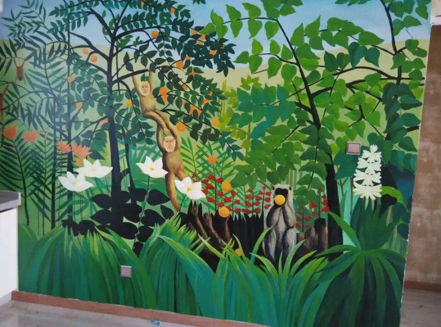 手绘墙教程2015,酒店增加艺术品,家居电视背景墙手工绘艺术画,庆源