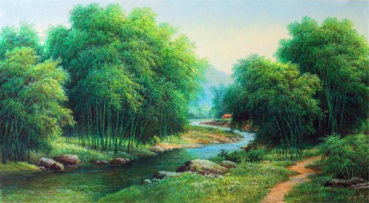 桂林山水风景油画,白桦树林风景
