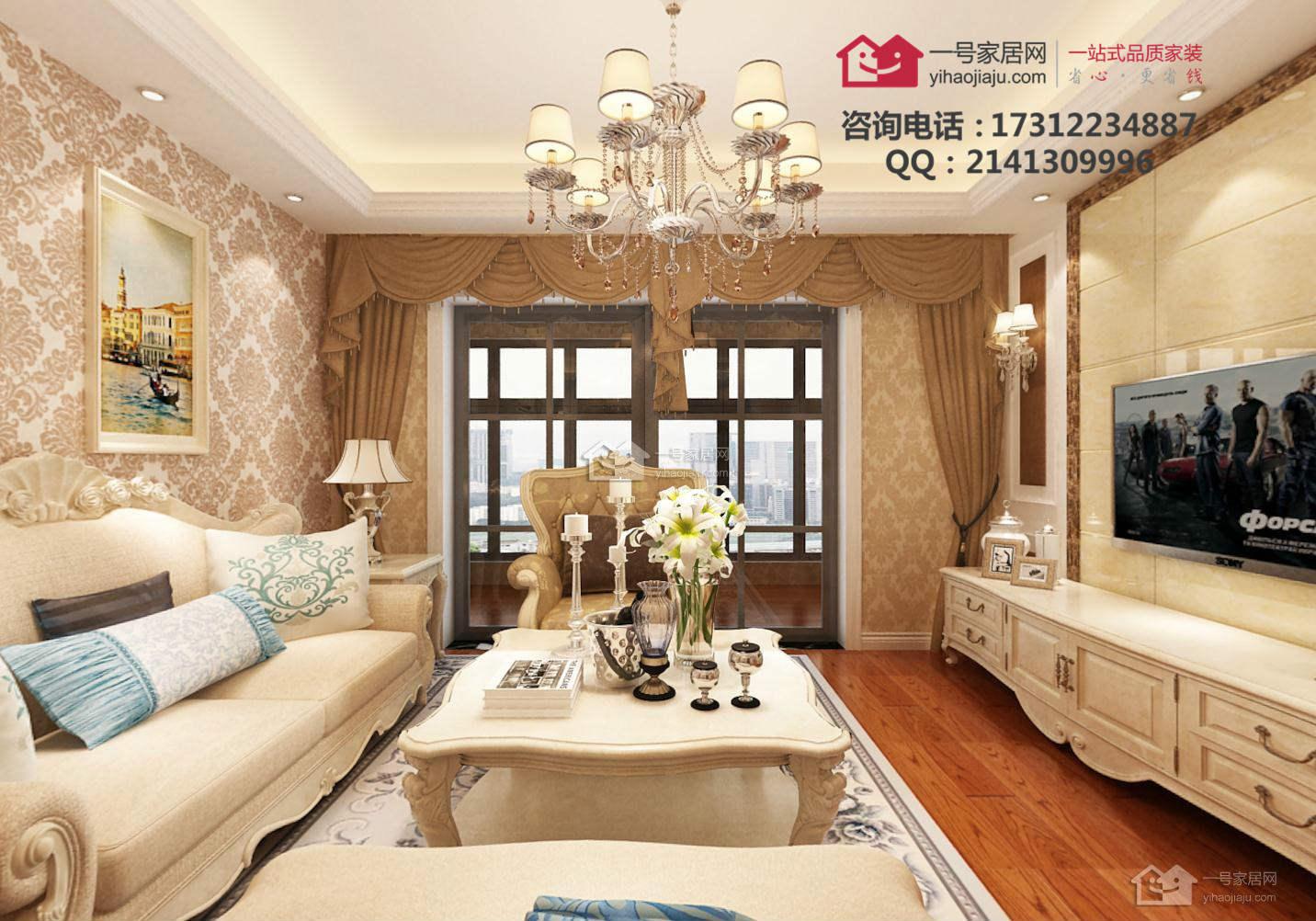 银龙花园70平两房一厅欧式风格装修价格