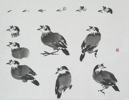 国画鸟的画法,写意花鸟画技法分享