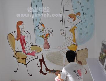 清水房唯美手绘墙智斗精装房 怡墨墙绘