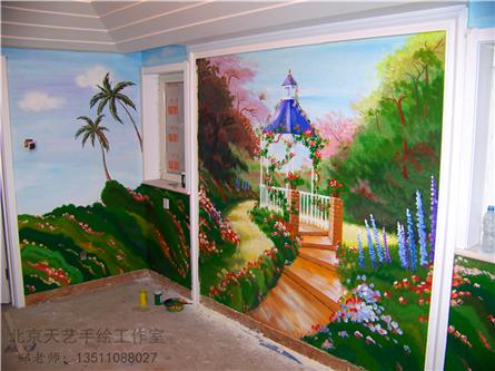 酒吧手绘墙画抽象