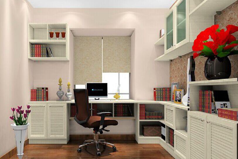 飘窗上的书桌与书柜