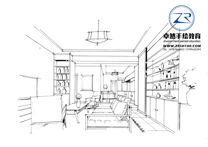 昆明室内设计线稿图,昆明卓然手绘培训中心好.