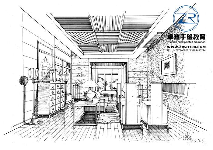 昆明室内设计手绘线稿图手绘哪家好,昆明卓然专业手绘