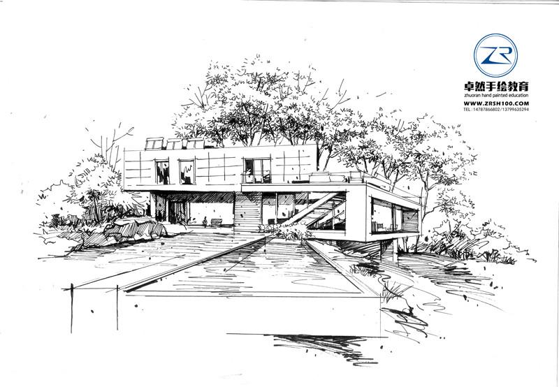 卓然手绘龙老师建筑线稿2