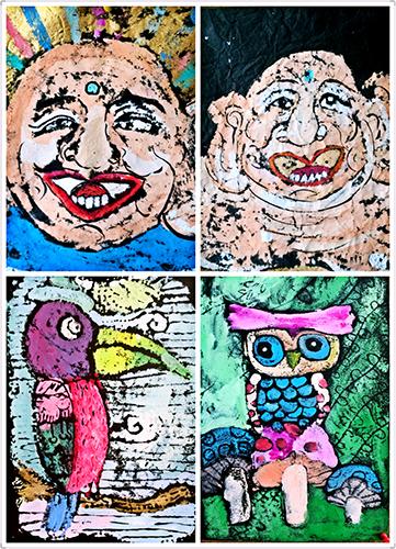 彩画(儿童画)  材料与形式:油画棒,水彩笔,水粉,彩砂纸,卡通,创意线描