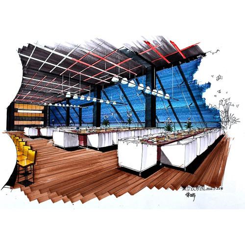 室内外配景设计中单体画法(线稿),室内外场景线稿表现,马克笔单体上色