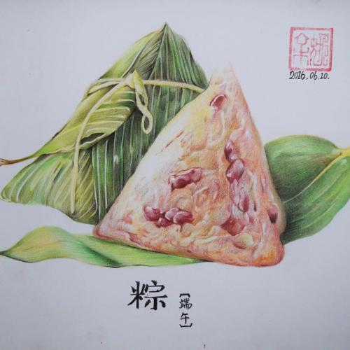 彩铅手绘粽子图片