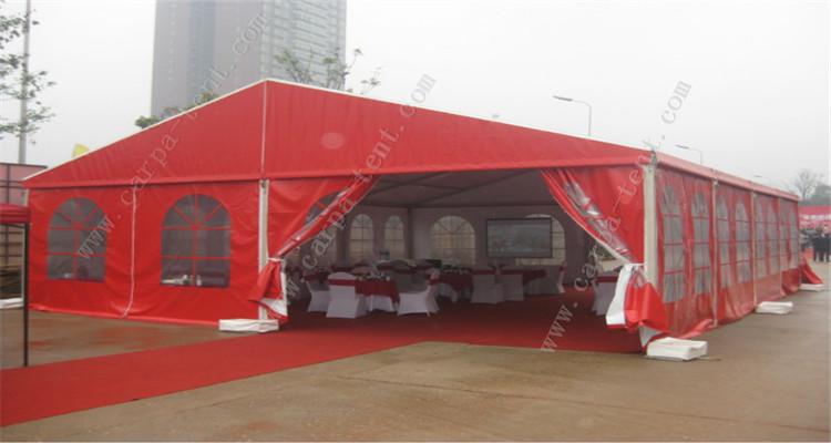 专业定制红白喜事红色欧式帐篷 外红内白婚宴喜事帐篷图片