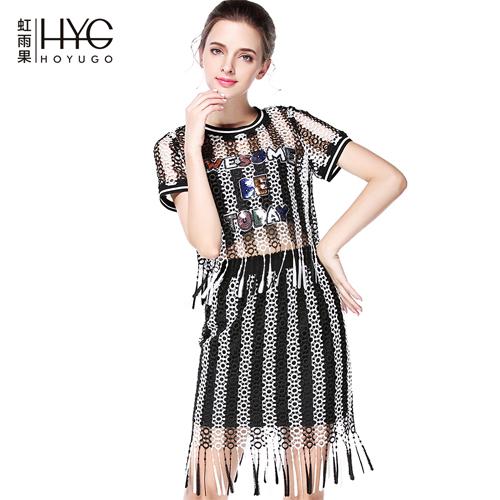 2016虹雨果连衣裙黑白条纹流苏两件套