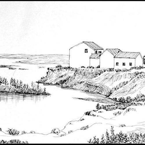河边风景速写步骤图解