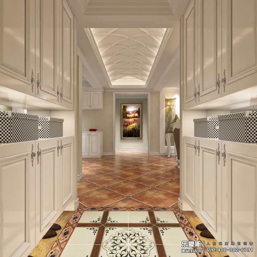 入户门厅采用石膏板吊顶,两边用嵌入式鞋柜,走廊采用石膏板做成拱形吊