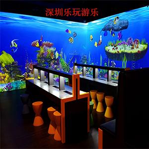 体验者通过将自己绘画涂色的鱼儿,水母等海底生物进行扫描,可以让自己