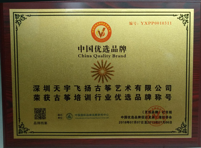 古筝行业优选品牌证书