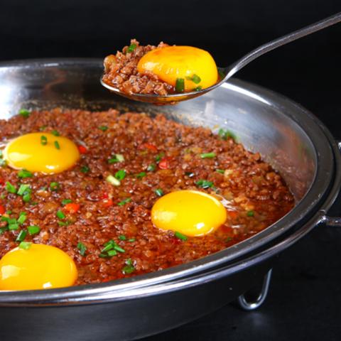 平鍋牛肉蛋